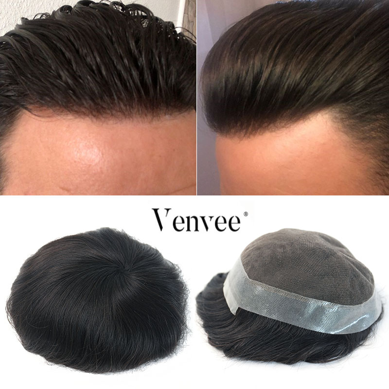 Hair Toupee Men Natural Looking 100% European Human Hair Toupee Lace & PU Replacement System Natural Color VenVee Remy Hair