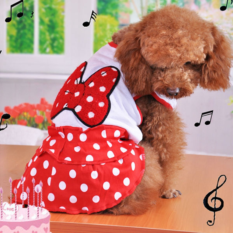 On Sale Dress For Dog Wedding Mickey Cute Summer Luxury Princess Girl Red Pet Tutu Skirt For Puppies Medium Animals Supplies
