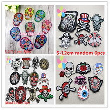 Skull Skeleton Embroidery Iron On Patches Clothes Appliques Sew On Motif Badge DIY Clothing Bag 6pcs/8pcs/12pcs 20010118