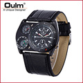 OULM 4094 Unique Design Mens Big Face Fashion Outdoor Watches Wide PU Strap Casual Quartz Watch with Compass Montre Boussole