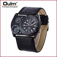 OULM 4094 Diseño Único Hombre Big Face Moda Al Aire Libre Relojes Amplia PU Correa Reloj de Cuarzo Ocasional con el Compás Montre Boussole