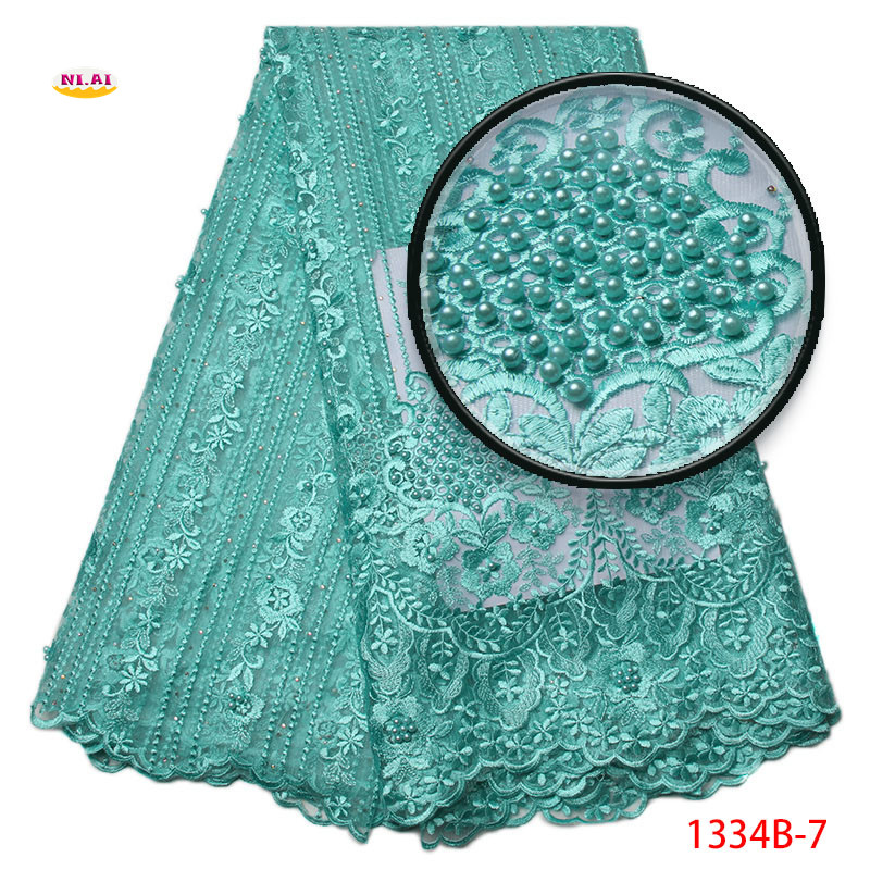 latest french laces fabric high quality double Organza With Pearls embroidered lace trim For Sewing Beauty Women Dress NA1334B-2