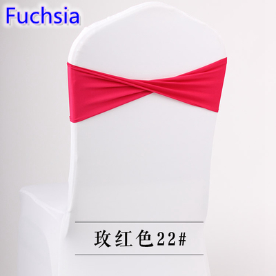 Colour Fuchsia spandex sashes lycra sash for chair cover spandex bands bow tie For Wedding Decoration banquet design on sale