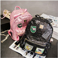 2017 New Hot Fashion Women Female European Sequins Backpack Zipper Patchwork Casual Students School Bag Shoulder Bags Backpacks