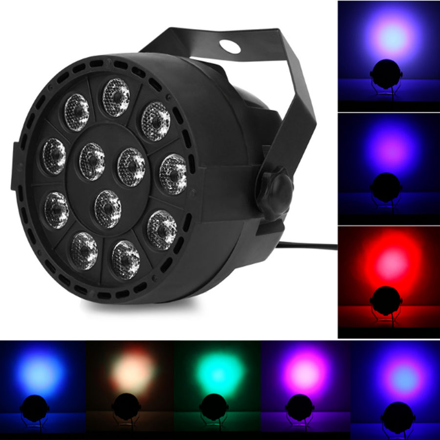 LED Stage Lights 12 RGB PAR LED DMX Lighting Effect DMX512 Master Slave Led Flat for DJ Disco Party KTV