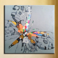 Hand Painted Abstract Animal Oil Painting On Canvas Colorful Butterfly Acrylic Paintings Modern Home Wall Art