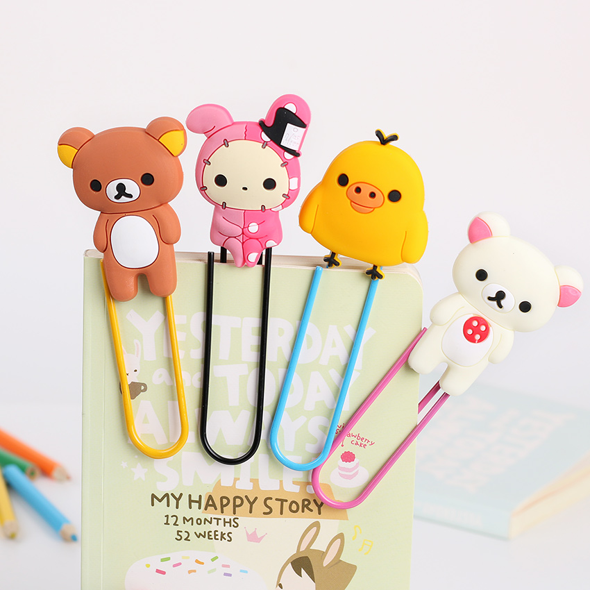 1PC Kawaii Animal Shape Paper Clip Lovely Bear Metal Bookmarks Clip Memo Clip Paper Clip DIY Novelty Office Learn Stationery