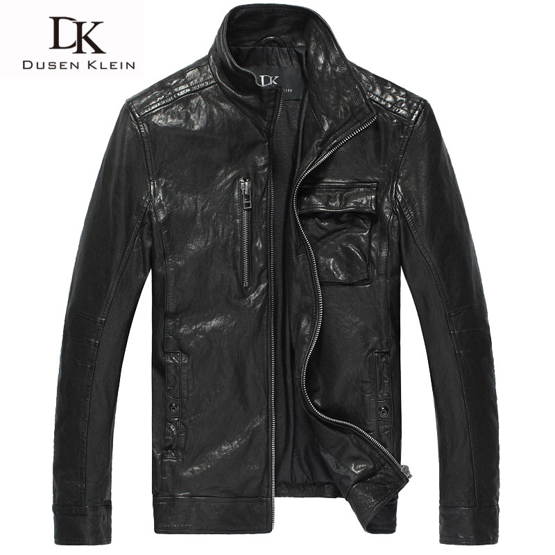 font b Men b font Genuine Leather font b Jacket b font Dusen Klein Brand
