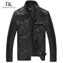 Men Genuine Leather Jacket Dusen Klein Brand Autumn Motorcycle Outerwear nature Sheepskin Spring Leather Clothing DK104