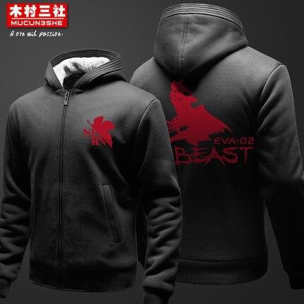 EVA утолщаются мужчины hoodie Кофты одежда Evangelion молния кардиган Толстовки толстые зимние куртки для мужчин и женщин