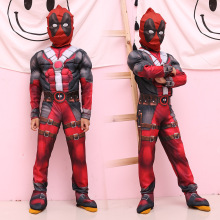 Kids Carnival Clothing  Deluxe Boys Marvel Anti-hero Deadpool Cosplay Children Muscle Movie Halloween Party Role Play Costume