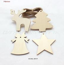 "(4 Styles, 60pcs/lot) 70mm Unfinished Wooden Assort Christmas Ornaments Deer Star Tree Bell Tags Strings Hanging 2.8""-ZH17"