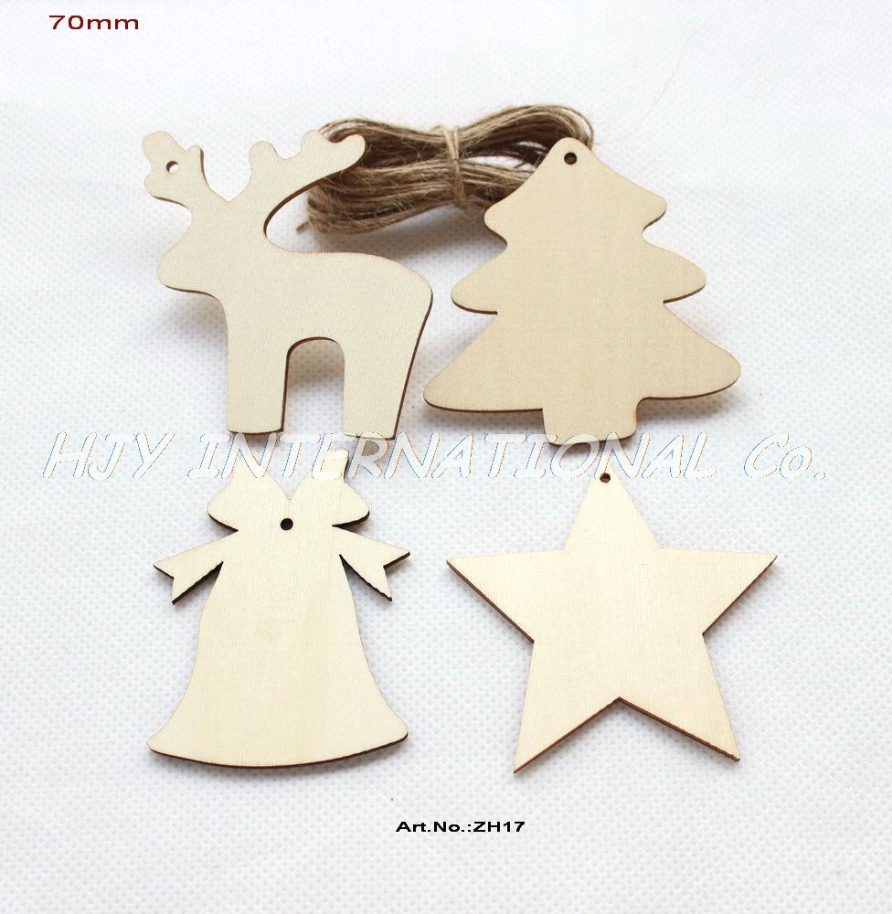 4 styles 60pcslot 70mm unfinished wooden assort christmas ornaments deer star tree bell tags strings hanging 28 zh17 in party diy decorations from - Unfinished Wooden Christmas Ornaments