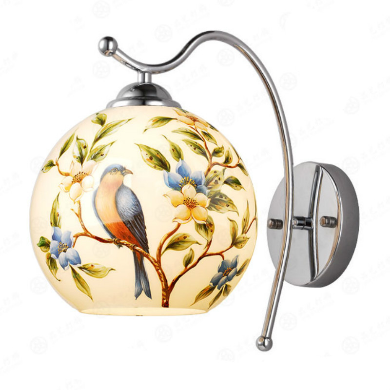 Retro Pastoral European Hand Pianted Birds Glass Aluminum Led E27 Wall Lamp For Living Room Bedroom Bathroom Aisle 80-265v 2057