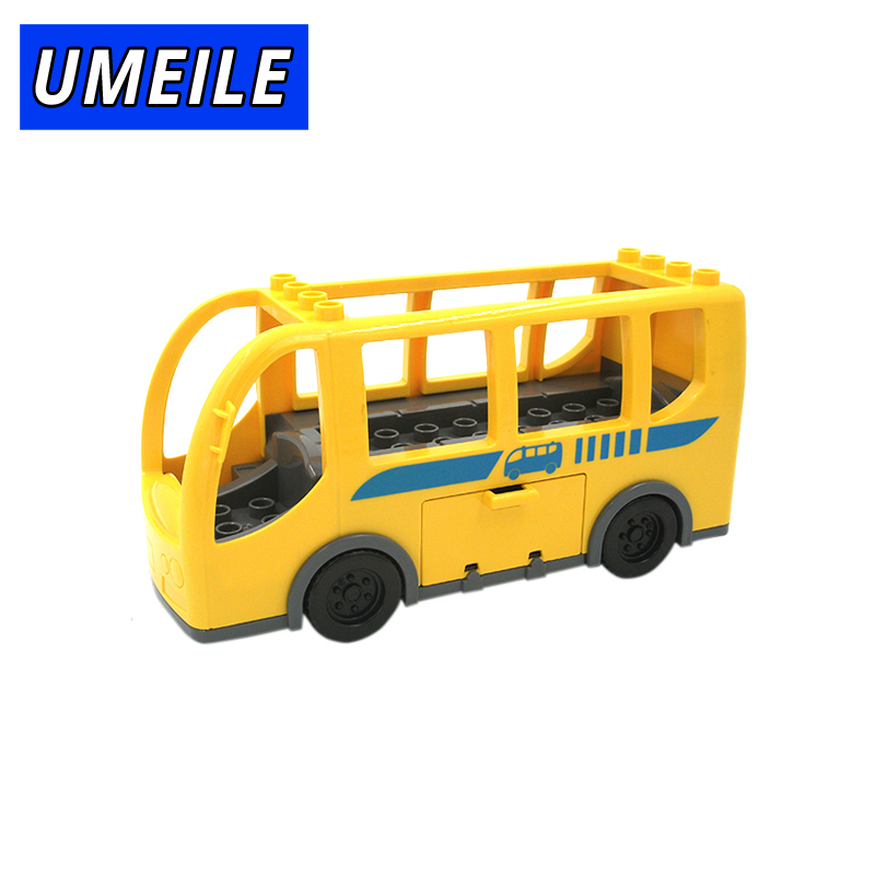 UMEILE Brand Baby Toys Original City School Bus Vehicle Car Model Big Building Block Best Gift Brinquedos Compatible with Duplo 26pcs wooden fun big building block with animal brand top bright high quality for baby kid toy gift boy brinquedo menina tp048
