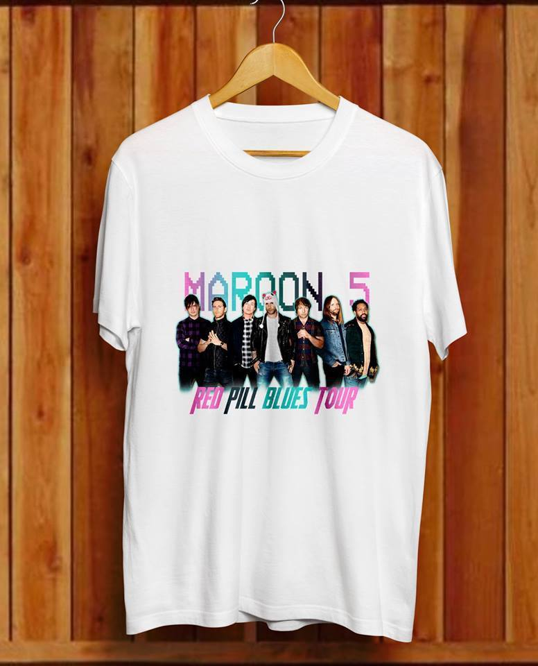 Maroon 5 Tour Dates 2018 New White T SHIRT fashion USA SIZE #WS_#$