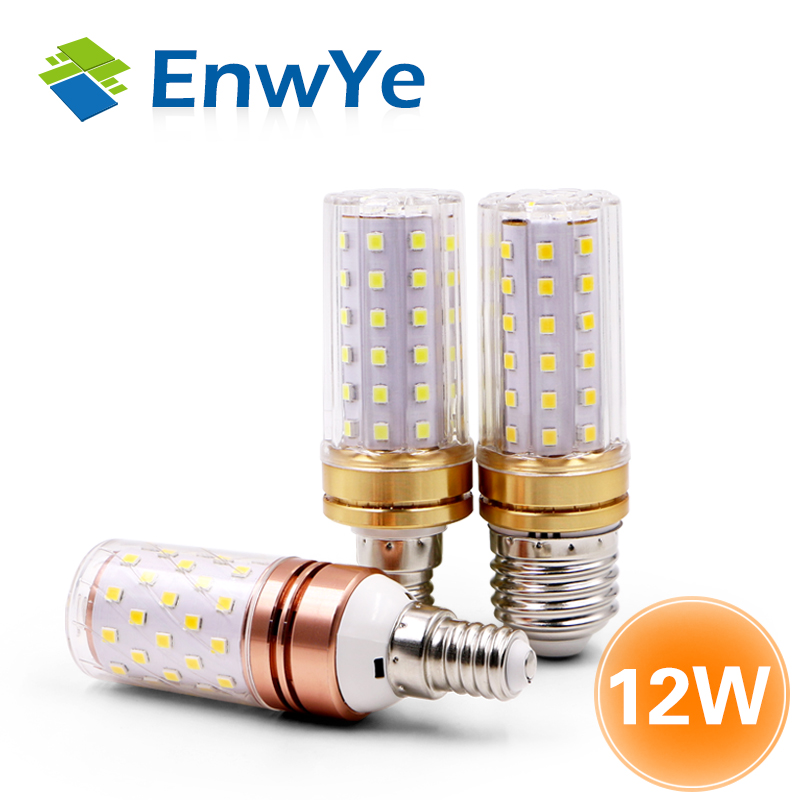 EnwYe LED 9W 12W SMD2835 220V E27 LED Lamp E14 LED Bulb True Power Corn Bulb Chandelier Candle LED Light For Home Decoration