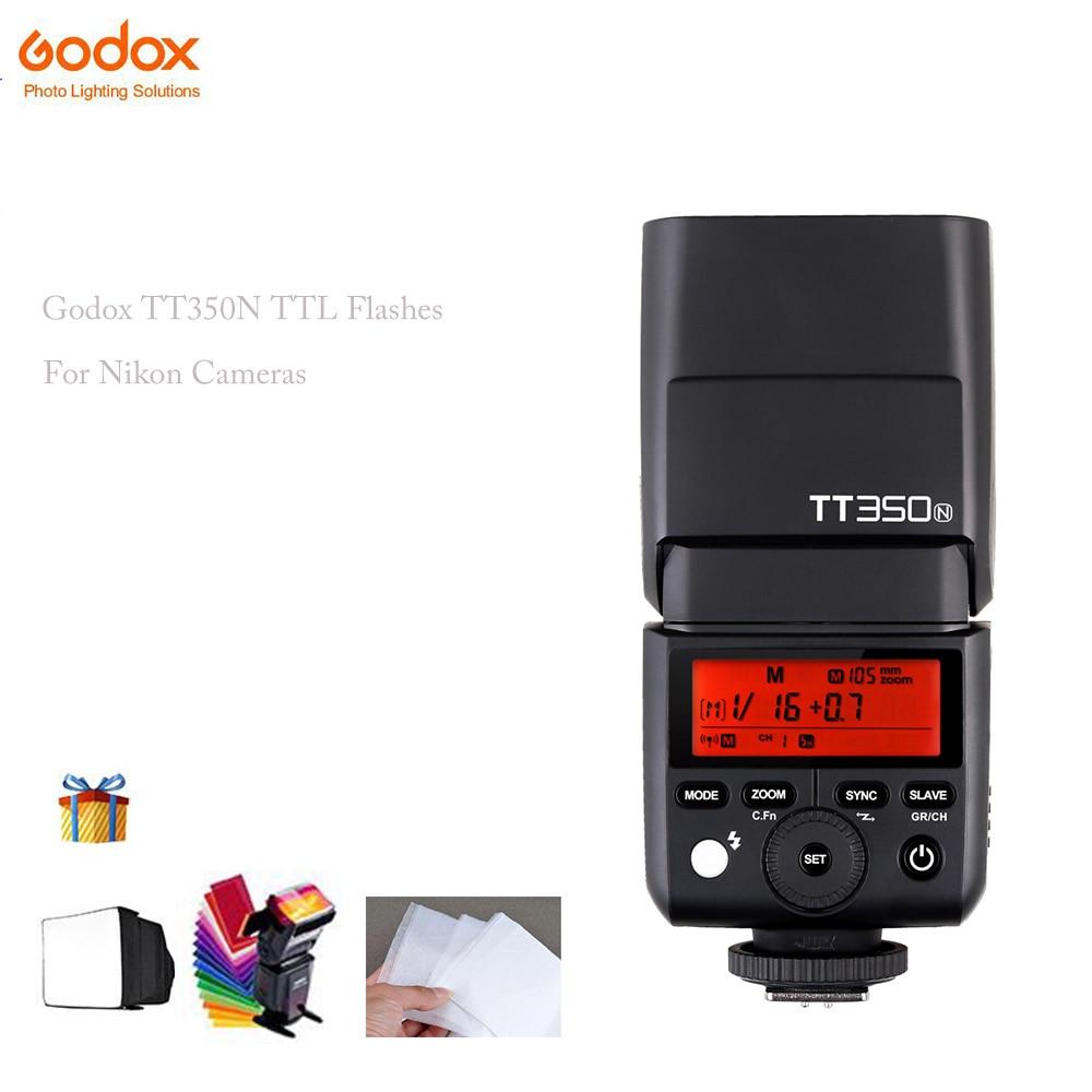 Godox Mini TT350N 2.4G TTL HSS 1/8000s Camera Flash Speedlite for Nikon D750 D7000 D7100 D7200 D5200 D5000 D300 D300S D3200 meike mk d750 battery grip pack for nikon d750 dslr camera replacement mb d16 as en el15 battery