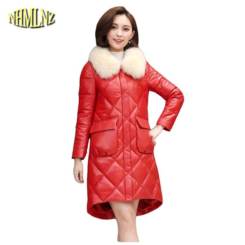 Survêtement Cuir De Hiver Supérieure Nouvelle Manteau Ly312 Fourrure Doudoune Qualité Longues Moyen Renard 2019 Mode Véritable Black Col En red Femmes ZqIOx5WAw