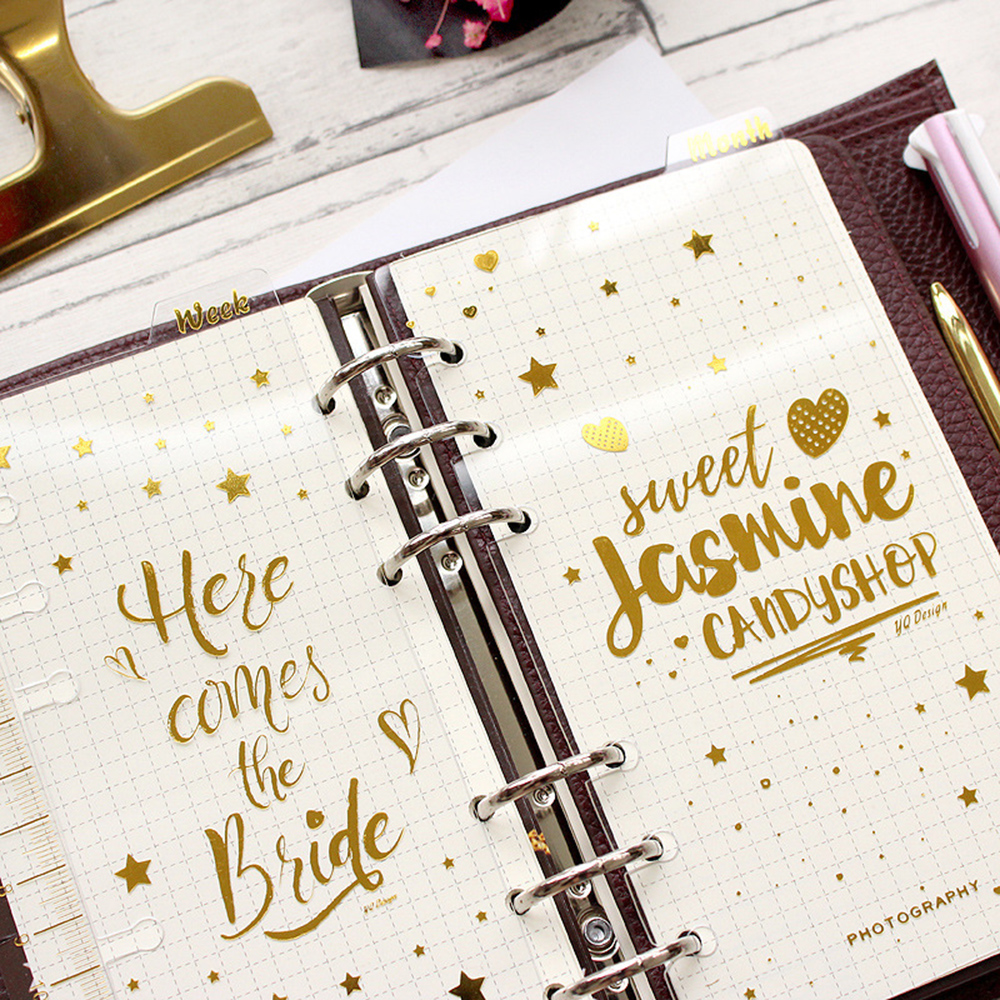 A6 6 Holes Gold Notebook Loose Leaf Transparent PP Separator Pages month/weekly/diary plan Notebook Paper Inside Pages