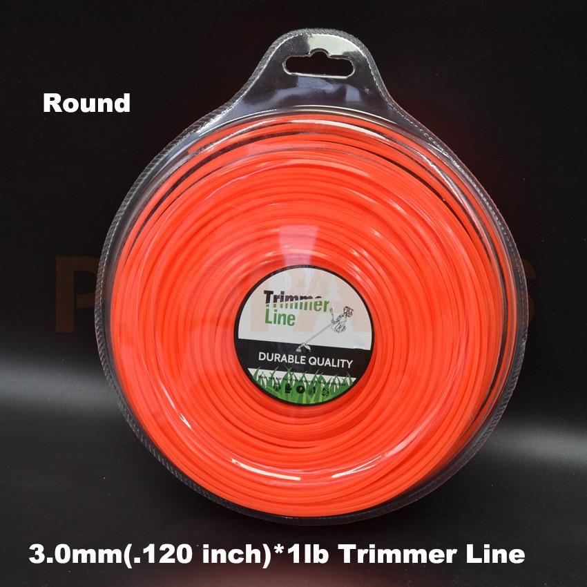 3.0mm 0.120X 1LB Round Shape Orange Color Brush Cutter Grass Trimmer Nylon Line Wire mini garden nylon grass trimmer line light purple 15m