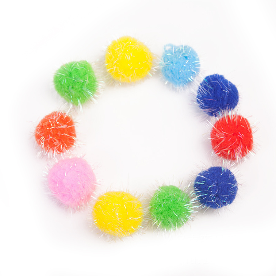 10/15/20mm Glitter Pompon Plush Balls DIY Crafts Home Decorative Flowers Intelligence Educational Toy Accessories