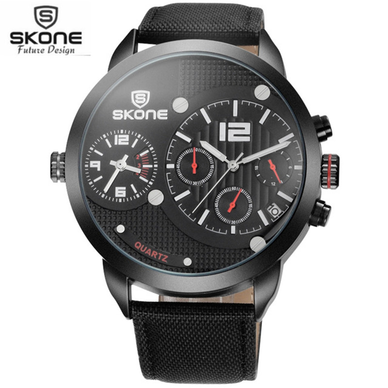 SKONE Big Dial Men Quartz Watches Mens Canvas Strap Waterproof Sport Watch Army Military Wristwatch Boys Clock Reloj Hombre 2017 sinobi mens military watches luxury quartz watch men clock silicone strap sport watches male wristwatch waterproof reloj hombre