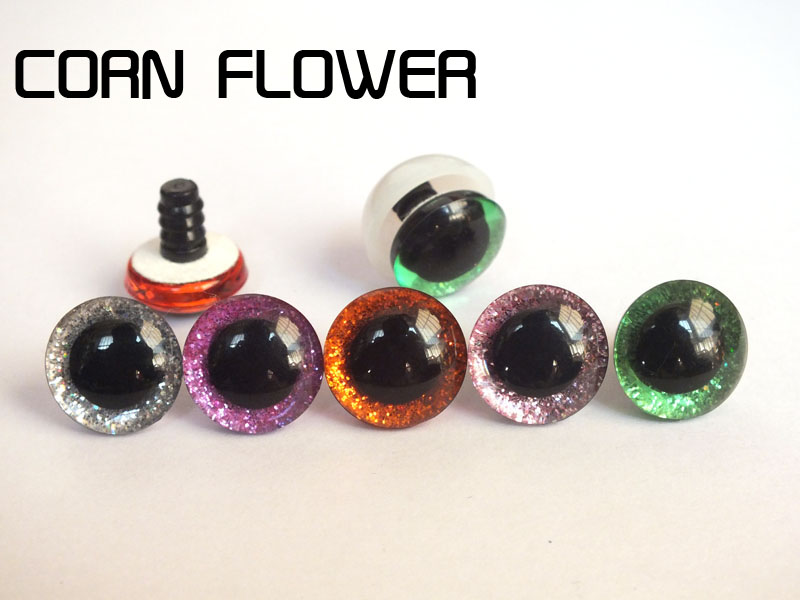 Mixed Colors 50pcs/lot New Design 16mm&20mm&24mm Clear Trapezoid Plastic Safety Toy Eyes + Glitter Nonwovens + Washer