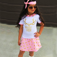 Girl Sets 3PCS Sets White T Shirt Printing Deer Pullover Pink Skirt Fashion Polka Dots Headband