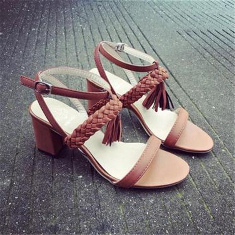 2017 summer new style Europe and the United States trend of sexy exposed toe braid with tassel in the thick with female sandals clark linde jungheinrich still keygen 2014
