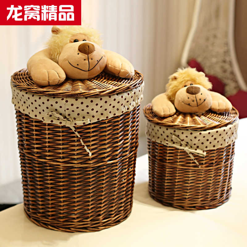 Home caixa de armazenamento do salgueiro cesta de armazenamento de vime com tampa balde lavanderia balde de armazenamento de roupas roupa suja cesta