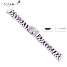 Браслет из нержавеющей стали с изогнутым концом, Серебристый браслет для часов, с двойной застежкой, Юбилейный браслет в старинном стиле, 22 мм