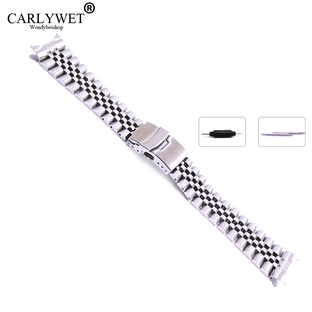 22mm Hollow Curved End Solid Screw Links Stainless Steel Silver Watch Band Strap Old Style Jubilee Bracelet Double Push Clasp