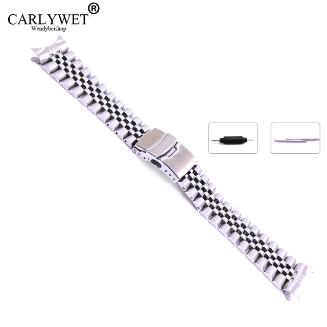 22mm Hollow Curved End Solid Screw Links Stainless Steel Silver Watch Band Strap
