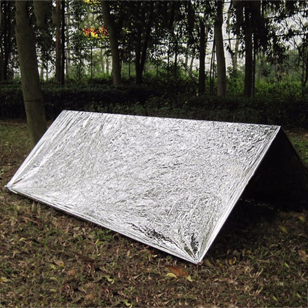 Cold-proof Military First Aid Emergency Blanket Survival Rescue Curtain Outdoor Life-saving Tent Reusable Sleeping Bag 130*210cm 1pc folding outdoor military emergency survival foil thermal rescue blanket shelter insulation curtain life saving blanket