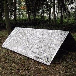 Odporny na zimno wojskowy pierwszej pomocy koc ratunkowy Survival Rescue kurtyna odkryty ratowniczy namiot wielokrotnego użytku śpiwór 130*210cm w Koce gaśnicze od Bezpieczeństwo i ochrona na