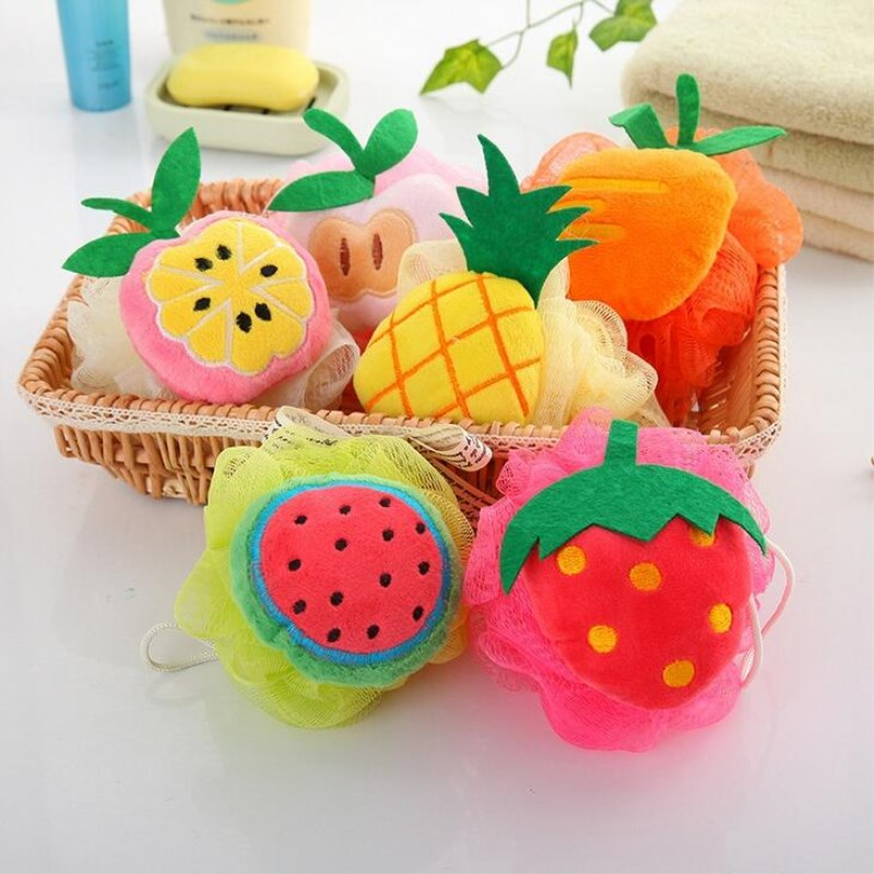 Cute Fruit Bath Balls Rich Bubbles Body Bath Sponge Shower Brush Body Wash Scrubber Mesh Soft Puff Bathroom Bath Set