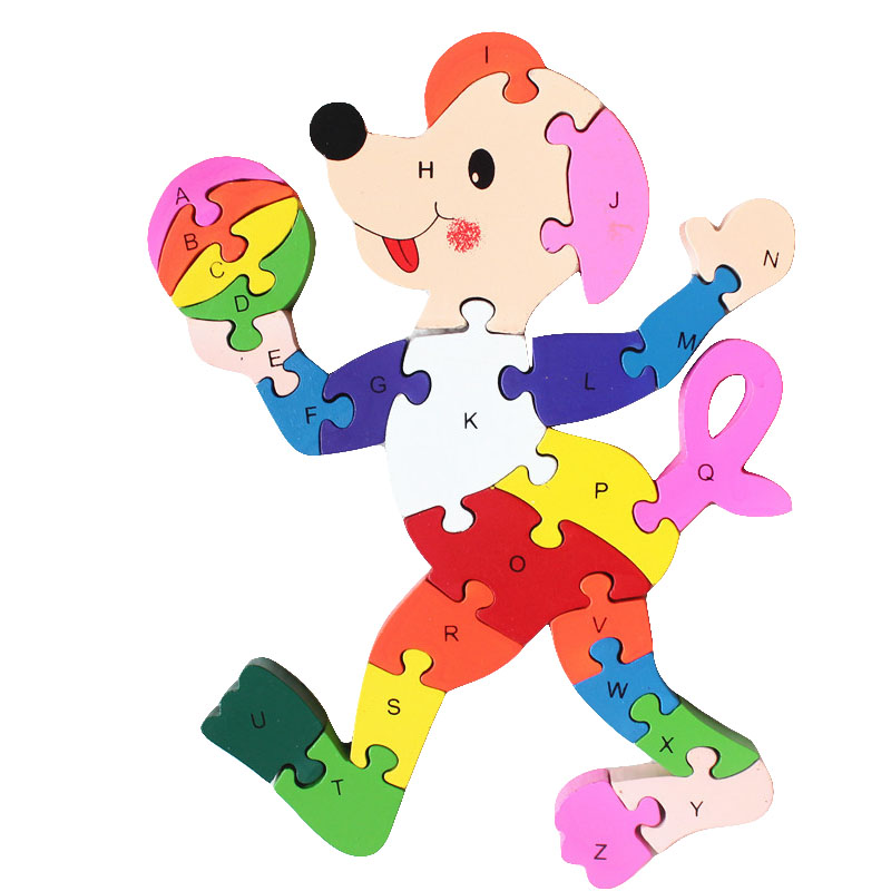 Kids Wooden Clown Puzzle Toy Simple Letter Digital Building Blocks Toy Early Childhood Education Language Learning Resources ...
