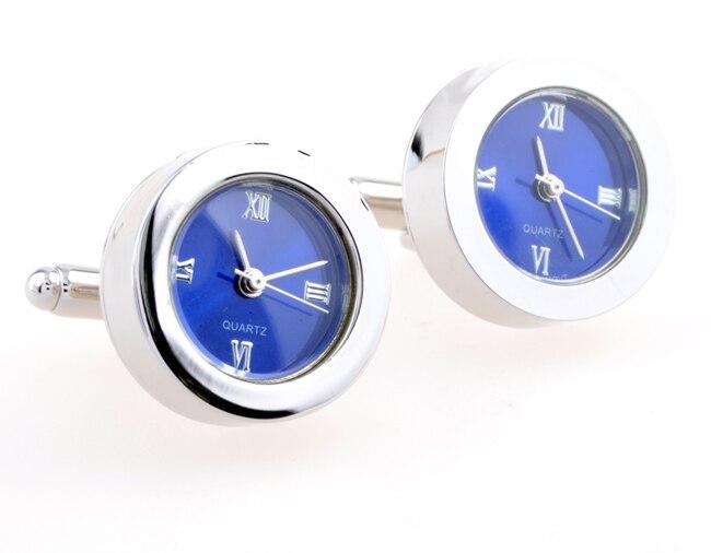 Functional Cufflinks - Round blue watch cuff links movement stripes cufflinks gift for men -KLJC2504