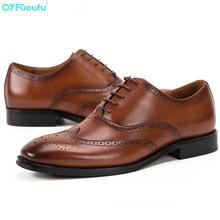 QYFCIOUFU 2019 Man Genuine Leather Shoes Fashion Office Men's Dress Shoes High Quality Italian Style Wedding Casual Brogue Shoes