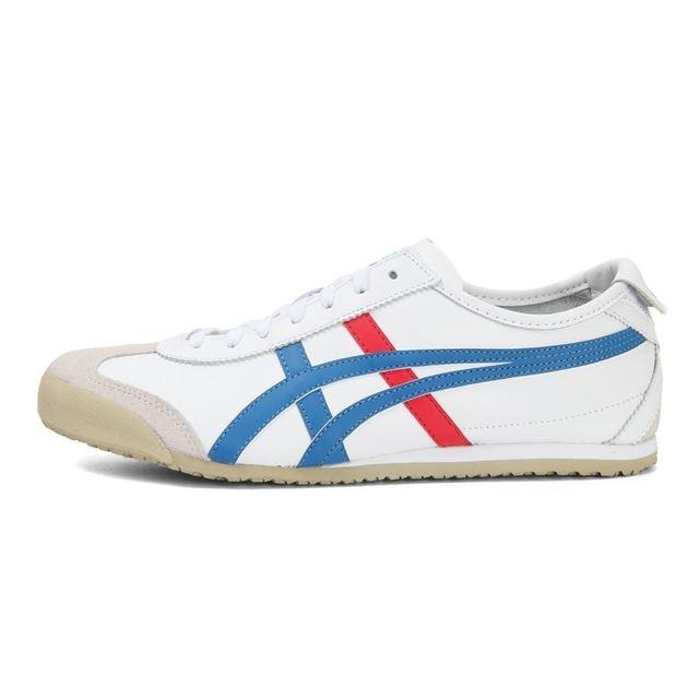 7e47aefcc18 ONITSUKA TIGER MEXICO 66 hombres y mujeres pareja zapatos de cuero  transpirable blanco bádminton zapatos suela