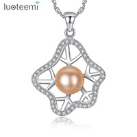 LUOTEEMI High Quality Natural Freshwater Pearl The Latest Design Sliver Irregular Star Shape Pendant Necklaces Women
