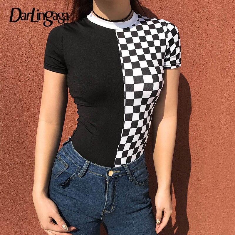 Darlingaga Fashion Checkerboard Bodysuit Short Sleeve Body Mujer Bodycon Jumpsuits For Women 2019 Black White Checkered Bodysuit