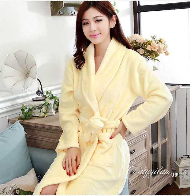 Feminino Roupão De Banho Flanela Sólidos Camisolas Spa Roupão de Banho Roupão de Mulheres Homewear Mangas Compridas Kimono Peignoir Nightwear Das Mulheres