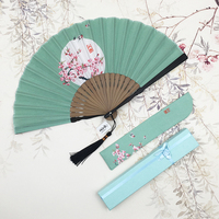 Delicate Light Green Folding Fan Women Portable Silk Fan Summer Handmade Gift Craft Bamboo Fan Precious Gift for Lover Friends