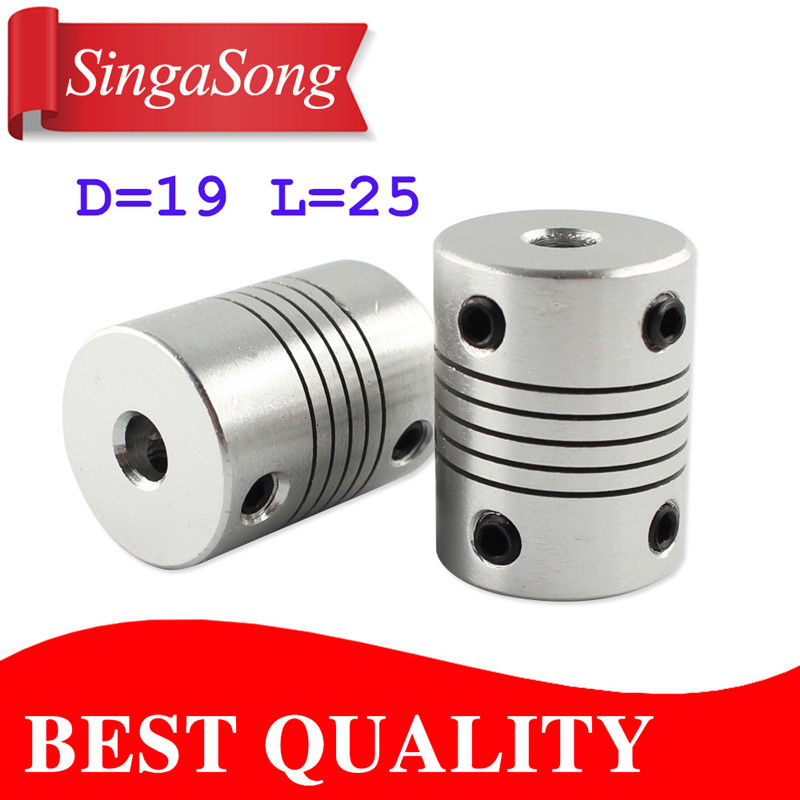 CNC Motor Jaw Shaft Coupler 5mm To 8mm Flexible Coupling OD 19x25mm wholesale Dropshipping 4/ 5/6/6.35/8/9.5/10/12mm