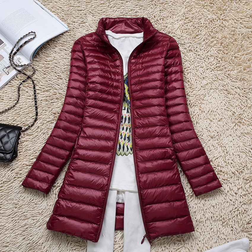 Autumn Winter White Duck   Down   Parkas Women Ultra Light   Down   Jacket Medium Long Outerwear Warm Slim   Coat   Plus Size S~4XL AB458