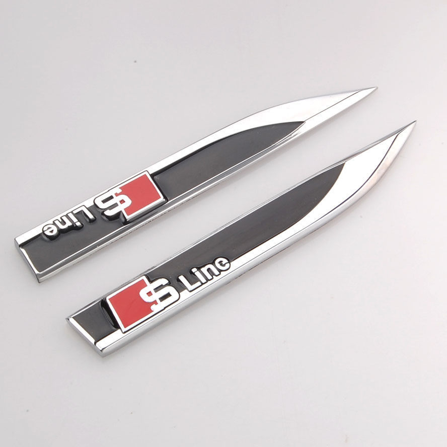 2x Metal S Line Sline Side Fender Knife Type Emblem Badge Decal Sticker Fit For Audi A1 A3 A4 A5 A6 A8 Q3 Q5 Q7 Car Accessories 3d metal s line sline sticker car front grille adhesive emblem badge accessories styling for audi a1 a3 a4 a5 a6 a7 q3 q5 q7 tt