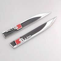 2x Metal S Line Sline Side Fender Knife Type Emblem Badge Decal Sticker Fit For Audi A1 A3 A4 A5 A6 A8 Q3 Q5 Q7 Car Accessories