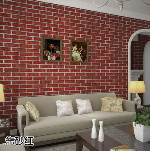 Chinese vintage red and black brick designs plain wallpaper for home decor paper